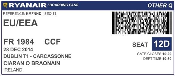 Ryanair Dublin to Carcassonne
